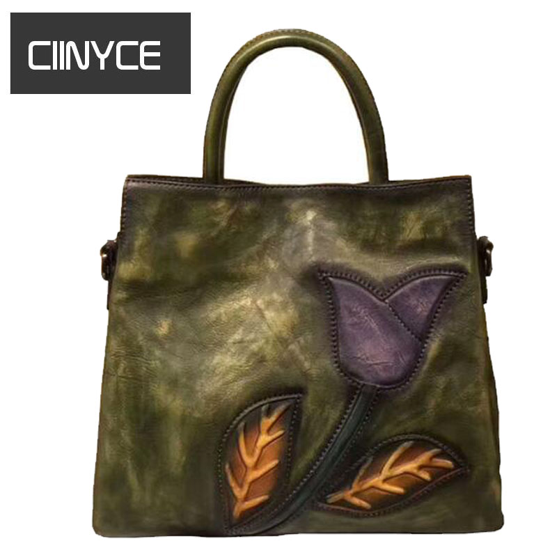 Cow Leather Shoulder Bags New Vintage Women Paint Flowers High Quality Vintage Tote soft versatile Original Designer Handbags the new high quality imported green cowboy training cow matador thrilling backdrop of competitive entrance papeles