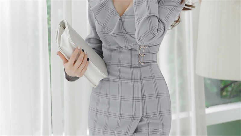 Rufles клетчатое элегантное платье на молнии с v-образным вырезом женское модное облегающее платье в стиле ампир хип-пакет Сексуальные облегающие платья Femme vestidos mujer
