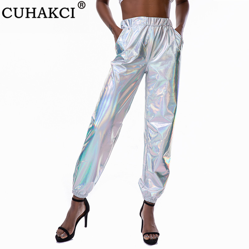 CUHAKCI Streetwear Hip Hop Pants Girls Dance High Waist Trousers Women Black Polyester Silver Clubwear Gold Jogging Ladies Pants