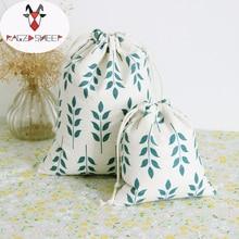 Raged Sheep Fashion Drawstring Cotton Grocery Shopping Bags Folding Shopping Cart Eco Grab Bag Reusable Baggu Wheat Printed