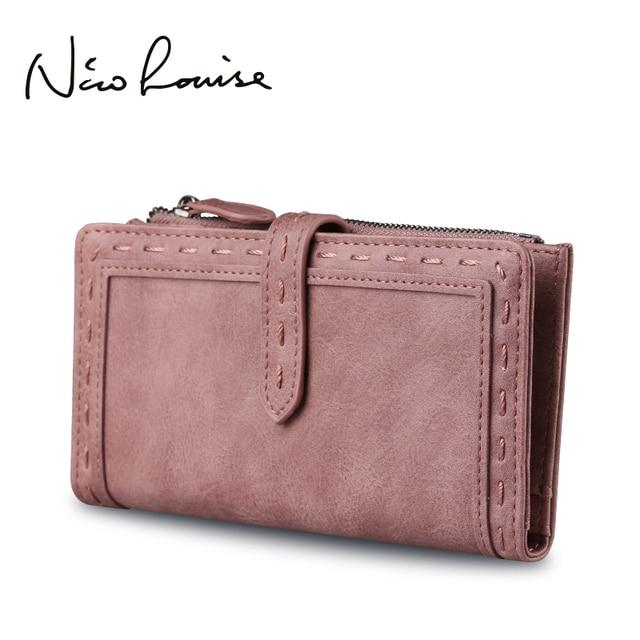 dd448c89300f Nico Louise Women Vintage Leather Long Wallet Fashion Girls Zipper Change  Clasp Purse Money Coin Card Holders wallets Carteras