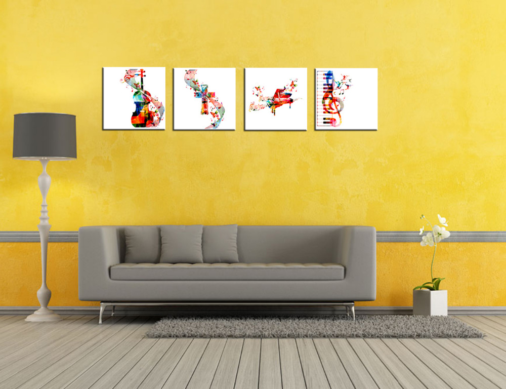 Abstract Canvas Colorful Music Instruments Picture Piano Keyboard ...