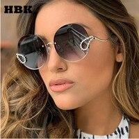 HBK 2019 роскошные женские солнцезащитные очки со стразами женские итальянские брендовые дизайнерские Круглые Солнцезащитные очки без оправы...