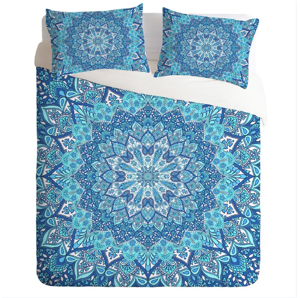 3Pcs Comforter Bedding Set Crystal Quilt Cover with Pillowcase Indian Bohemia Printed Bedclothes Twin Full Queen King Size