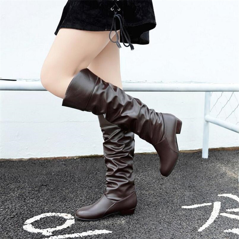 Autumn winter new European and American fashion long tube women 39 s boots low heel square with high boots women 39 s boots in Ankle Boots from Shoes