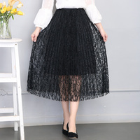 2017 Spring Summer Women Skirt Sexy Lace Mesh Hollow Out Slim Bodycon Tight Elastic Pleated Elegant Transparent Black Skirt
