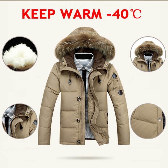 2fb1d9e628a 2018 Light Down Men Winter Jackets Mens Duck Down Coat Down Parka Male  Jacket Coats Fur