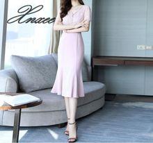 Dress summer 2019 new fashion temperament elegant slim lace stitching high waist ruffle dress