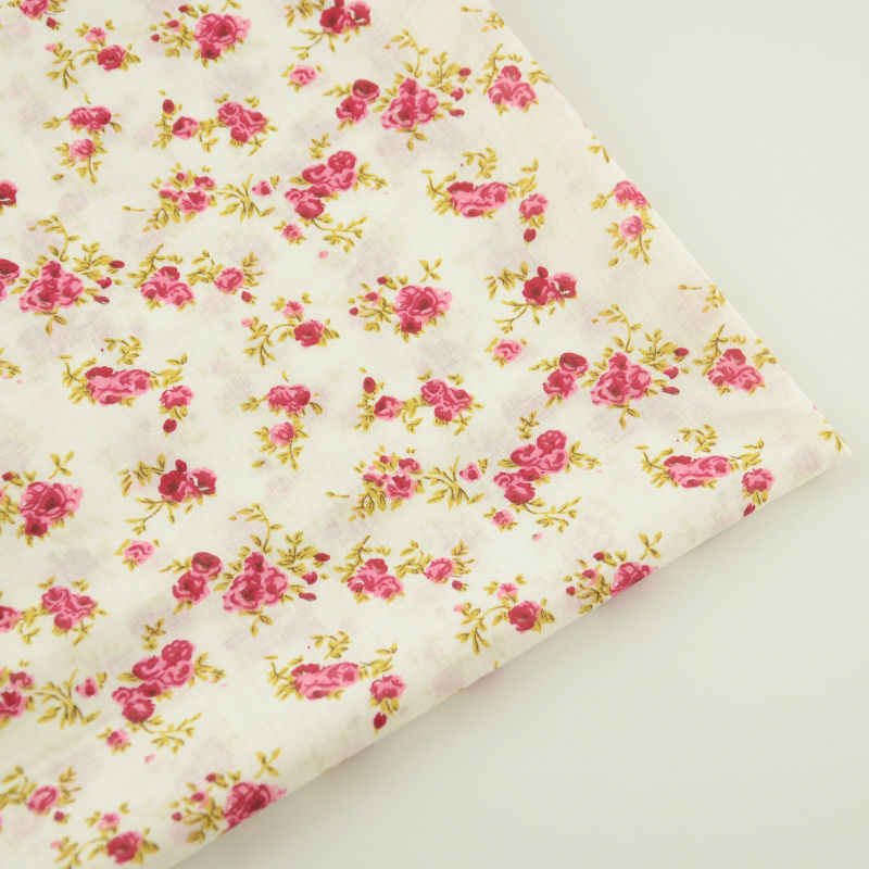 Booksew 100% Cotton Beige Elegant Red and Pink Flowers Design Textile Fabric Sewing Doll's DIY Fat Quarter Cloths Tildas CM