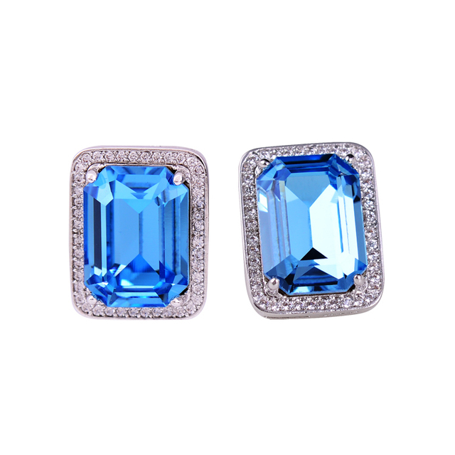 High End Jewelry Sexy Rectangle Big Blue Crystal Zircon Square Stud Earrings Best Friends Birthday Gifts Top Quality
