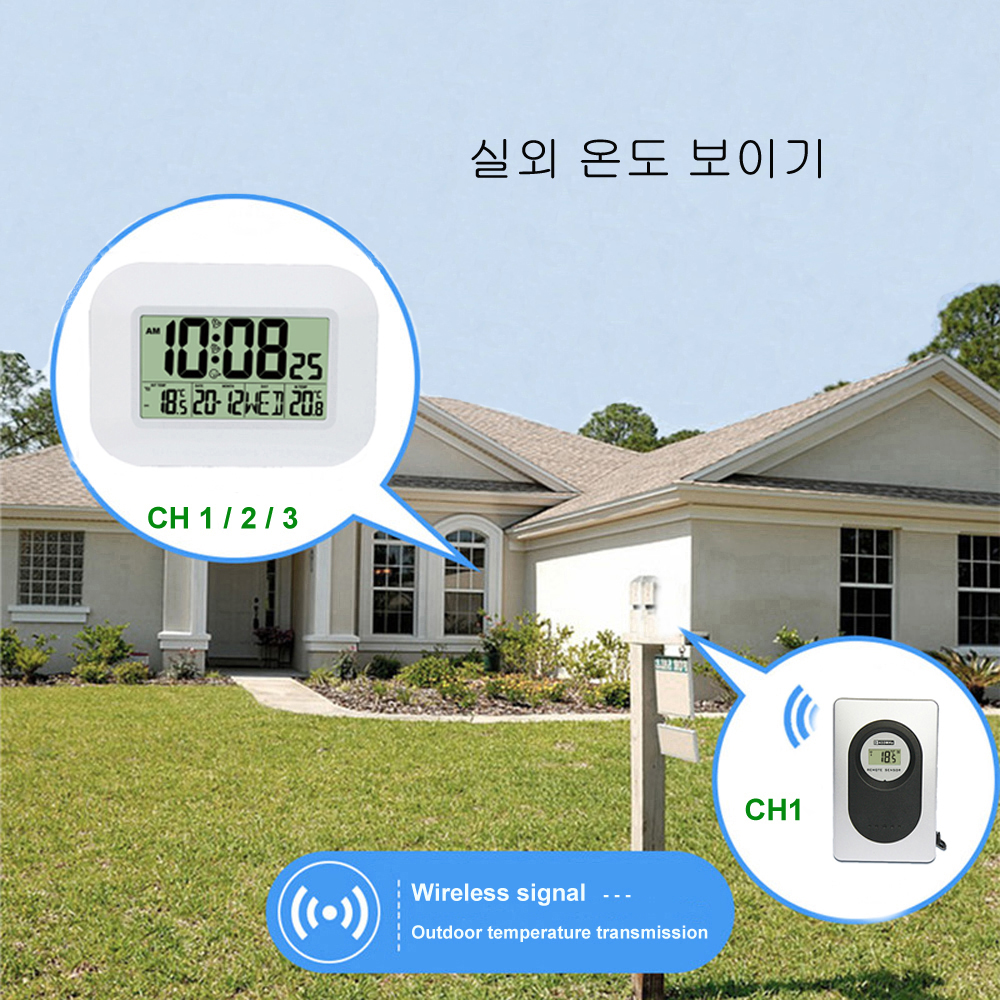 Big LCD Digital Wall Clock Thermometer Indoor w/ Outdoor Temperature Transmitter Radio Controlled Alarm Clock RCC Table Calendar