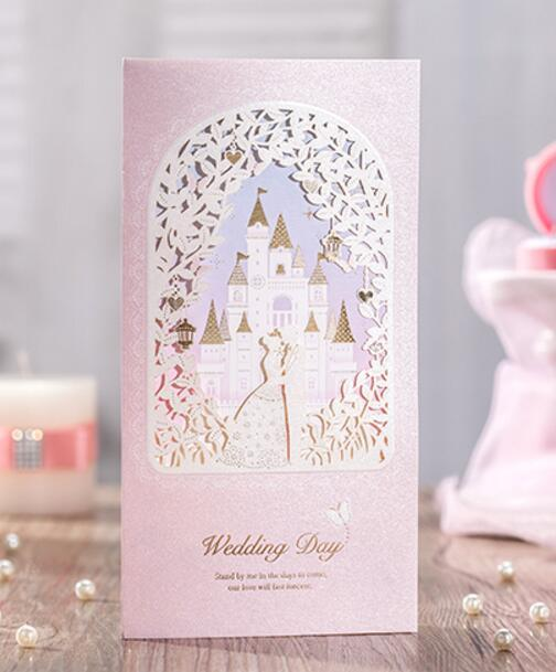 romantic castle and carriage wedding invitation cards pink