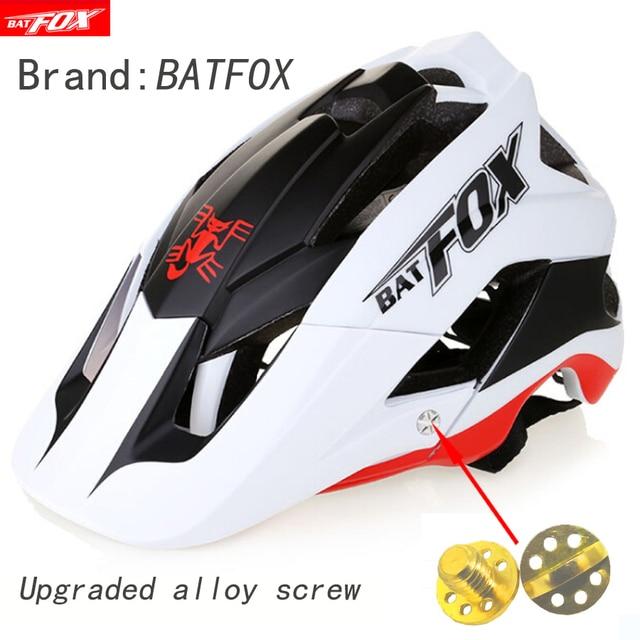 BATFOX Capacete de bicicleta CE MTB, capacetes de ciclismo de montanha e estrada vermelha e com viseira solar unissex ultraleve 2