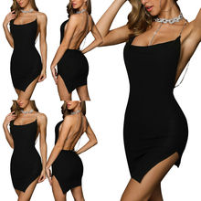 Women Strappy Bodycon Wrap Dress Backless Evening Party Club Mini S-XL