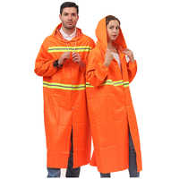 Unisex Reflective Raincoat High Visibility Safety Long section Fluorescent Clothes Outdoor Working Hooded Waterproof Clothing