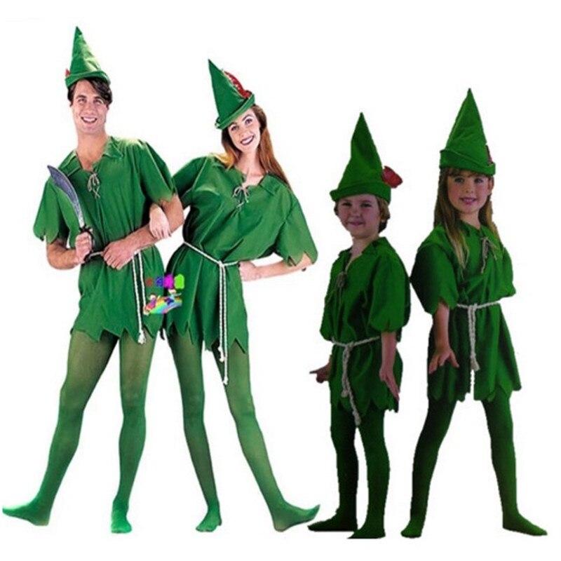 Movie Costume Sexy Women Girls Boys Peter Pan halloween costumes for men adult Cosplay Peter Pan Costume Child Kids Cartoon
