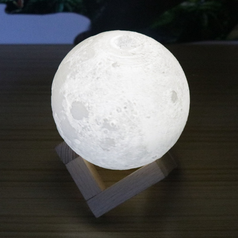 Rechargeable Night Light 3D Print Moon Lamp Color Change Touch Switch Bedroom Bookcase Nightlight Home Decor Creative Gift
