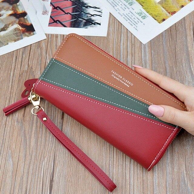 SHUJIN Women's Fashion Zipper Closure Spliced Wrist Strap Tassel Wallet New Elegant Phone Coin Long Purse Card Holder For Girls 1