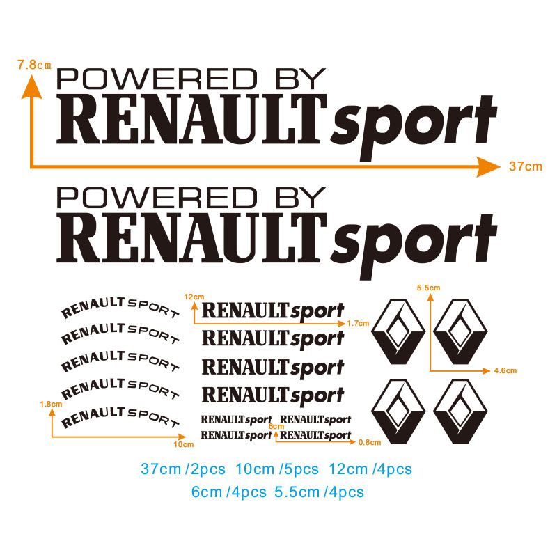 19pcs Decal For Renault Sport Lio Megane Twingo Rearview Mirror  Rims Alloy Wheels Decal  Seat The Whole Body Car Stickers #0134