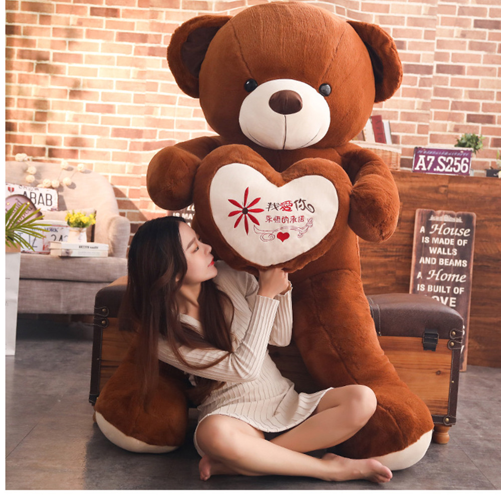 High Quality 60cm 100cm 2 colors Teddy Bear With Love Heart Stuffed Animal Bear Plush Toys Birthday Lovers Gift Valentine Gift