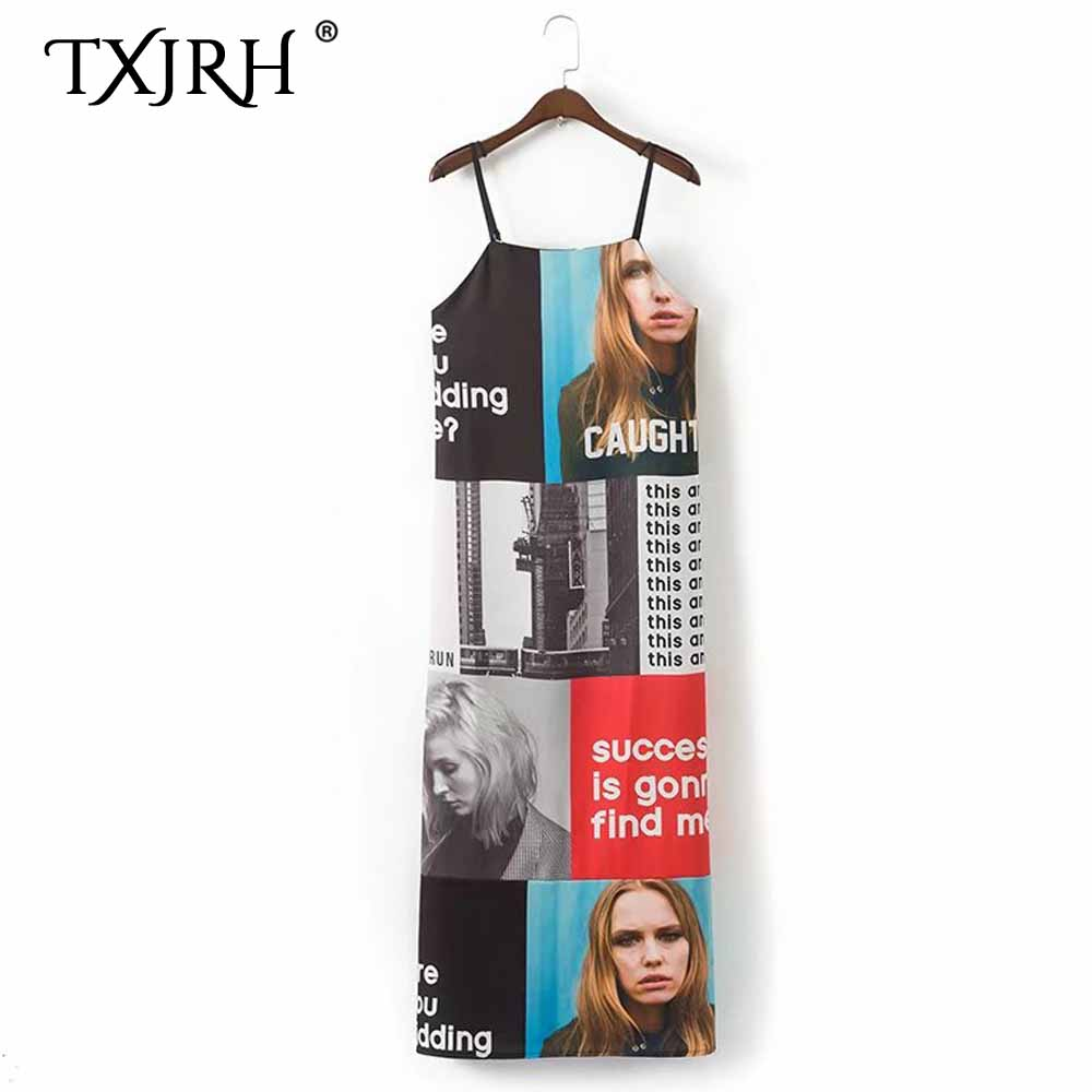 TXJRH Sexy Colorful Character Photo Letter Print Long Dress Fashion Woman Spaghetti Strap Sleeveless Backless Ankle-Length Dress