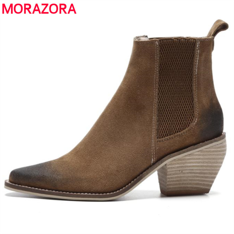 MORAZORA 2018 Hot sale Cow suede leather ankle boots thick high heels women boots spring autumn ladies motorcycle boots shoes morazora new china s style knee high boots flowers embroidery spring autumn boots for women zipper cow suede med heels boots