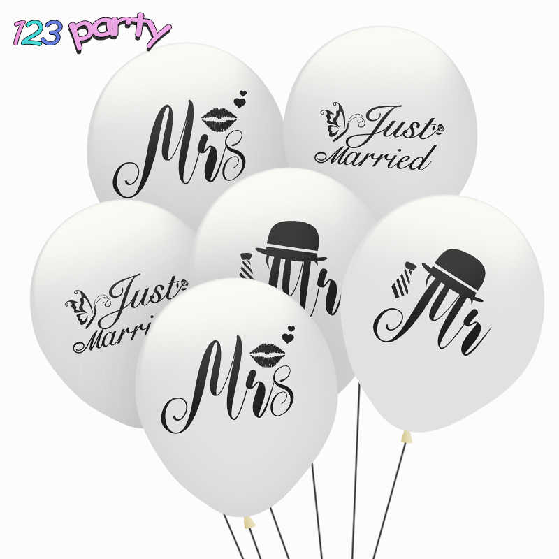 10PCS Just Married Balloon Mr & Mrs Latex Set Wedding decoration Engagement Decoration Party Supplies White 123 party 10inch
