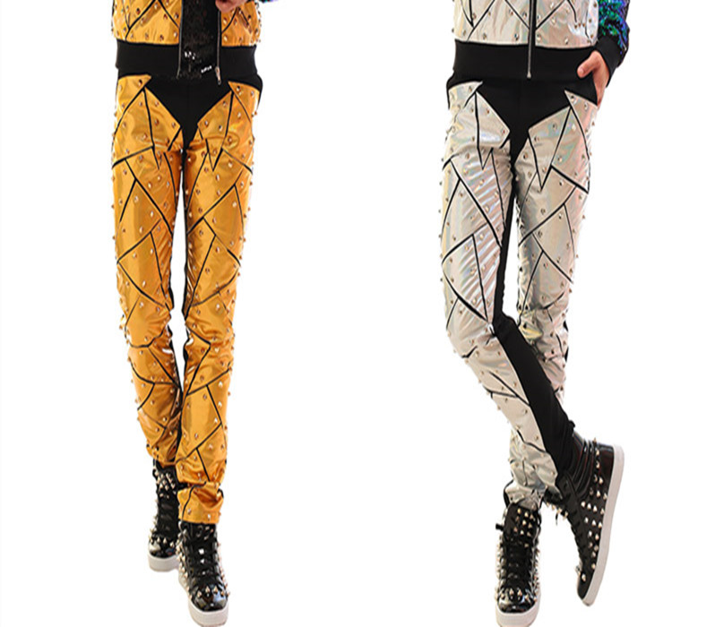 Pants Leather Pants Lovely Fashion Mens Personality Laser Pu Leather Pants Costumes Nightclub Bar Singer Dancer Stage Show Trousers Party Show Stars