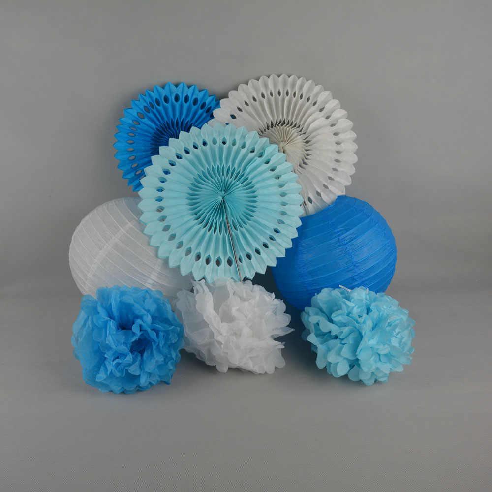 Verde/Azul/Rosa/Roxo Partido Set Bola Lanternas De Papel Decorativo Artesanato Pendurado Leques De Papel Do Chuveiro de Bebê Tecido Pom Pom Decoração