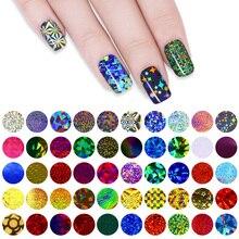 50 Unids Shimmer Estrellado Starry Sky Nail Foil 4*20 cm de Colores de Uñas Glitter Transfer Sticker Manicura Nail Art decoración