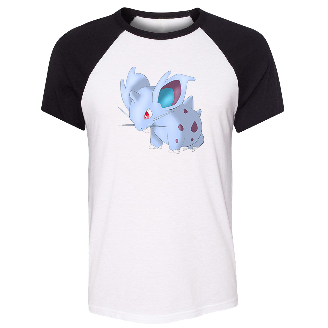 Unisex Summer T-shirt Poison Type Pokemon National Pokedex 029 Nidoran Pattern Raglan Short Sleeve Men T shirt print Tee Tops image