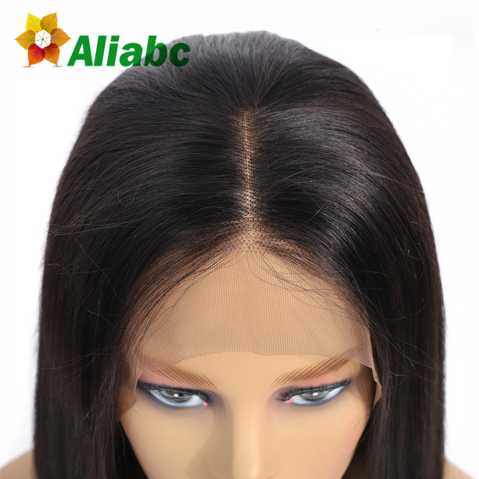 Aliabc Hair Bob Wigs Peruvian Lace Front Human Hair Wigs For Black Women Natural Color Remy Straight Short Lace Front Wigs(China)