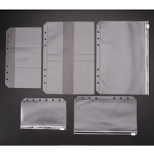 Transparent PVC Storage zipper Bag Card holder Pouch for Binder Rings Looseleaf Notebook A5 A6 A7 Diary Planner Accessories