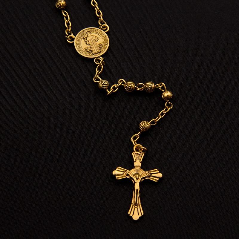 Jesus Cross Pendant Crucifix Goddess 18k Gold Filled Trendy Long Rosary Necklace