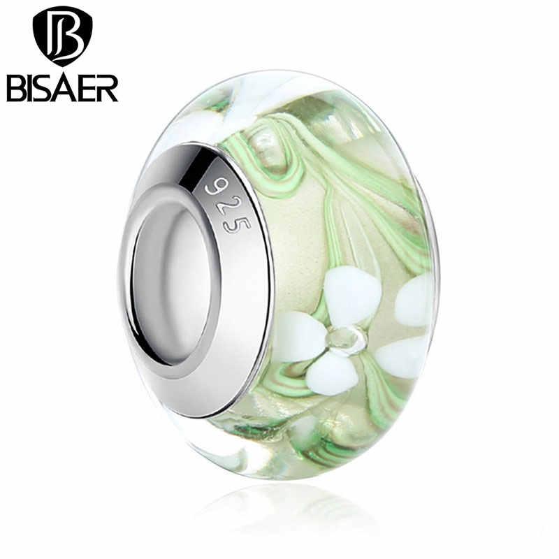 BISAER חרוזים סטרלינג כסף 925 תכשיטי Lampwork זכוכית חרוזים להכנת תכשיטים פריחת 11 צבעים Fit קסמי צמיד HJ6361
