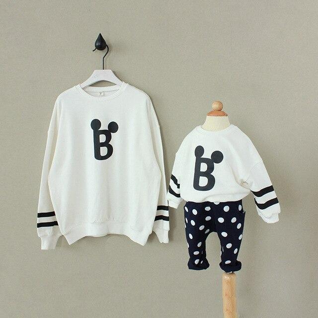 Новая мода 2015 Толстовка Мать дочь махровые свободные толстовки Семья одежда Корея бренды мать и девочка рубашки мальчик одежды