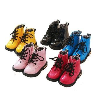 Niños pequeños bebés niñas niños amarillo negro charol Martin botas zapatos para niñas niños botas de nieve zapatos nuevos