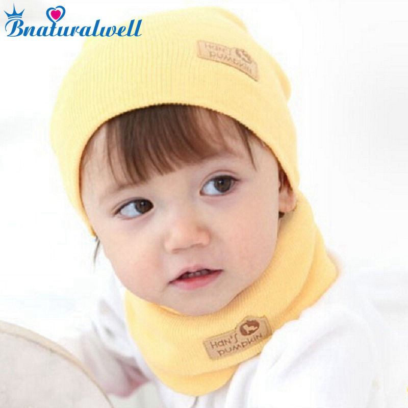 Bnaturalwell Spring Autumn Winter Baby Cap Girls Boys Children Knitted Hat and Scarf Set Kids knit hat with scarf set H346B fashion wool knit baby hat scarf set with fox fur balls autumn winter children hat scarf kids caps for girls boys warm hats set
