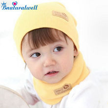 Bnaturalwell Spring Autumn Winter Baby Cap Girls Boys Children Knitted Hat and Scarf Set Kids knit hat with scarf set H346B