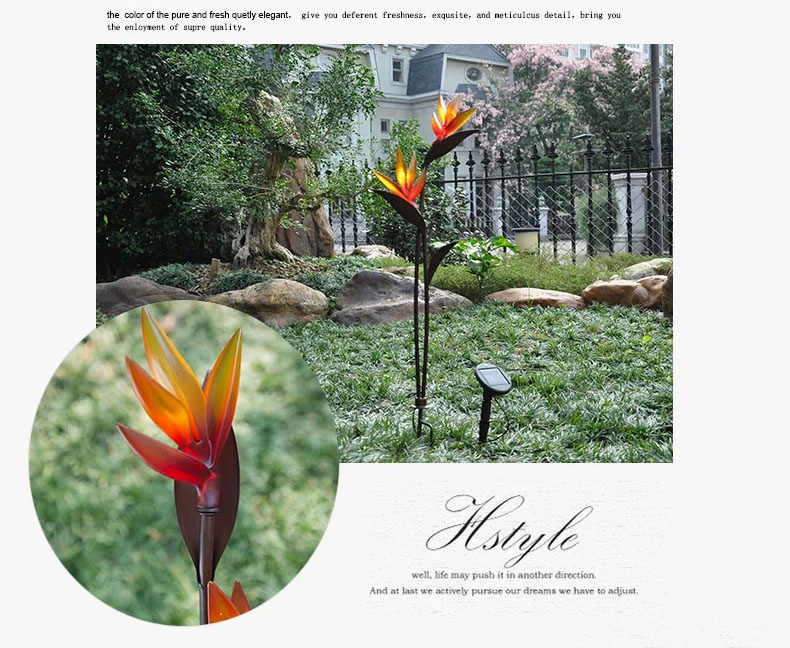 Delightful Light Control LED Solar Lights Bird Of Paradise Plastic Flowers Inserted Lights  Outdoor Garden Light LED Solar Powered System In Solar Lamps From Lights ...