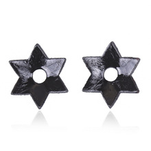 Sexy PU Leather Pasties Hexagram Shaped Nipple Cover Temptation Hollow Breast Stickers Flirty Fetish Nipple Covers