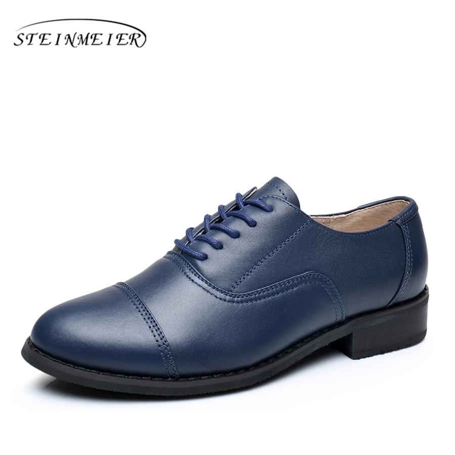 Blue Leather Shoes Lace Woman