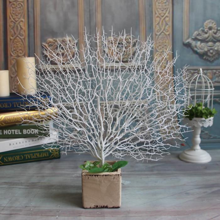 Süni Ağ tovuz Mərcan ağacı budaqları PlastikArtical Flowers Ev Toy Dekorativ yüksək Akvarium Ətrafı 45cm