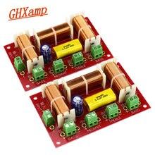 Alto falantes ghxamp treble + midrange +, alto falante de baixo duplo, áudio crossover de 4 vias, divisor de frequência com filtro 200w 2 peças