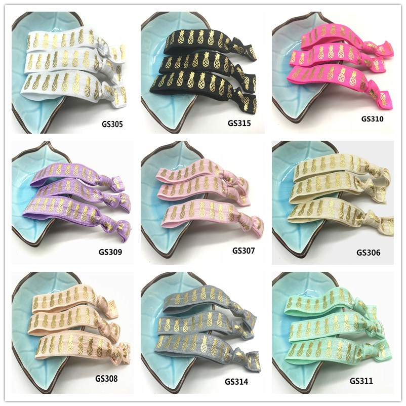 12 Colors 40pcs 5 8 quot Pineapple Print Gold Foil Fold Over Elastic Hair Band Hair Tie FOE Elastic Band Ponytail Holder Bracelet