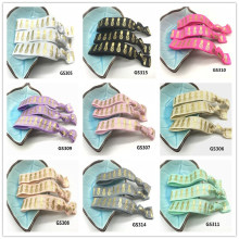 12 Colors 40pcs  5/8 Pineapple Print Gold Foil Fold Over Elastic Hair Band Tie FOE Ponytail Holder Bracelet