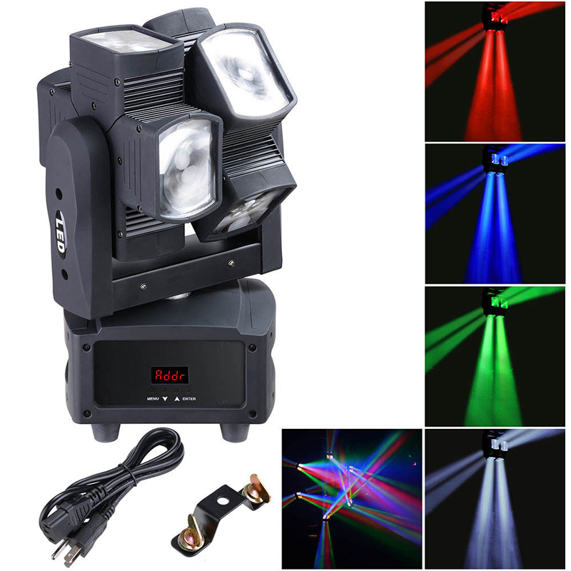 Free Shipping 8*10W RGBW Stage Dual Wheel Stage Effect Light For Dj Disco Dmx Moving Head Beam Spot Wash Lighting Projector
