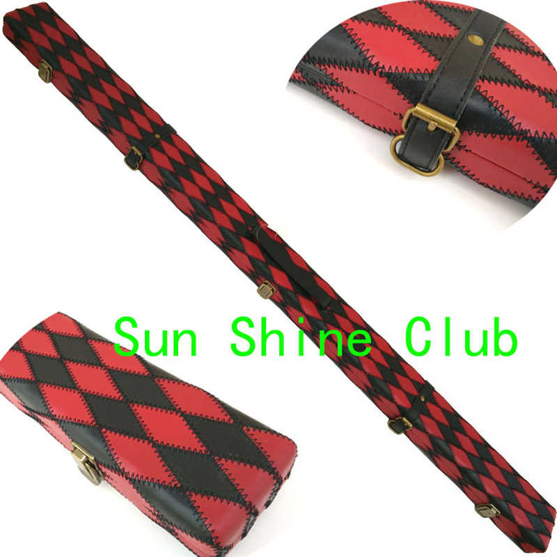 xmlivet Red with Black design 60 2Compartments PU Leather Billiard Snooker Cue Case Hold 2sets snooker