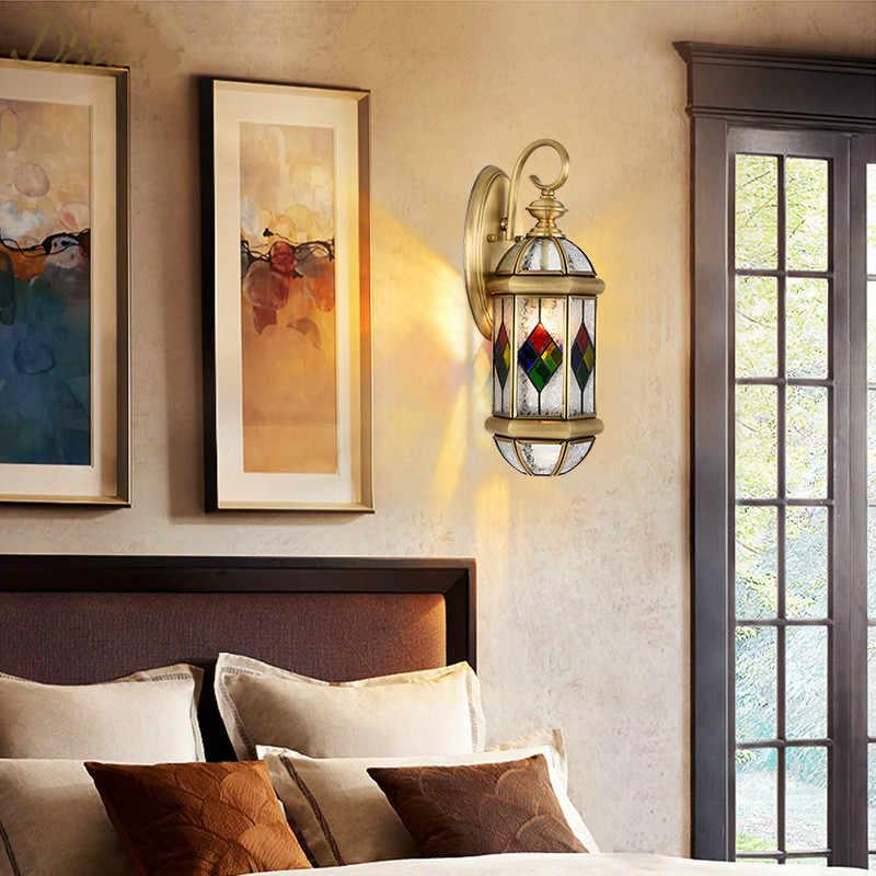 Современный скандинавский медный Настенный Светильник Бра Лампа для гостиной, спальни настенный светильник бра светодиодный стеклянный Декор фойе настенные светильники