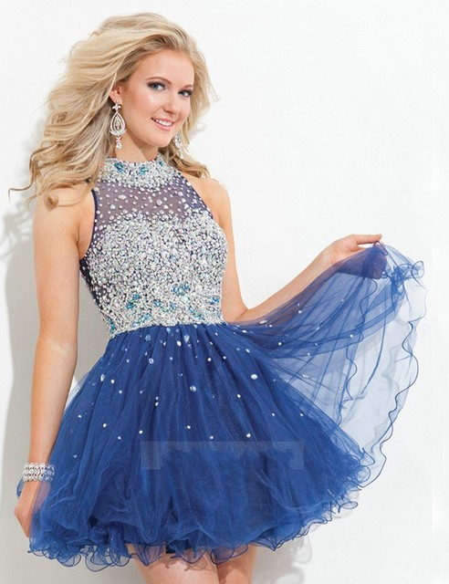 New Sexy Fuchsia Short Graduation Dresses 2016 Tulle Navy Blue Cocktail Dresses New High Neck Turquoise Homecoming Dresses